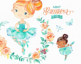 Mint Ballerina 2. Watercolor clipart, little girl, ballet dancer, pointe, turquoise, floral wreath, ballerina pack, flowers, cute, skin tone