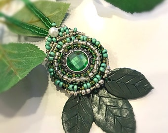 Green Earth beaded necklace