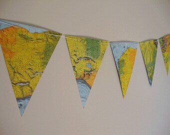 Map pennants ,Bunting banner,birthday banner,baby shower banner, wedding garland,Travel Theme Party Map Bunting,Custom bunting