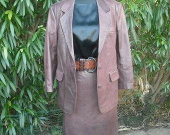 1980s Women's Brown Leather Suit  Professional Two Pc. Suit  Medium