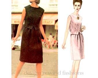 1960s Vogue 1466 Mod ONE-PIECE DRESS Pattern Sleeveless Dress Simonetta Vogue Couturier 31 Bust Size 10 Womens Sewing Patterns