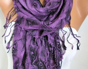 Purple Peacock Print Cotton Scarf, Summer Shawl,Birthday Gift,Cowl Scarf Gift For Her,Women Fashion Accessories Women Scarves,Birthday