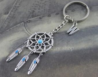 Dream Catcher Keychain Turquoise KeyChain Personalized gift Initial Keychain