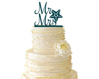 Glitter Mr. And Mrs. With Starfish Acrylic Wedding/Special Event Cake Topper - 025