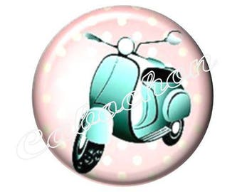 2 cabochons 18 mm glass, Dolce vita vintage scooter