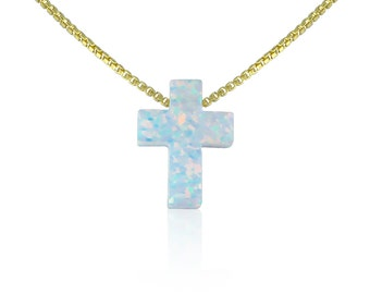 "White Cross Necklace Opal • Available in Lengths From 12"" to 22"" • 2 Chain Styles • Waterproof • Cute Cross Gift"