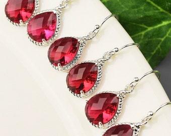 Red Earrings SET OF 5 - 10% OFF Bridemaid Earrings - Wedding Jewelry - Crystal Bridesmaid Earrings - Bridesmaid Gift - Wedding Earrings