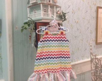 THE ANNA - Rainbow Chevron Dress, Yellow Orange Red Green Blue w Dot Ruffle (baby, girls, toddler, infant, child) Jumper or Sundress