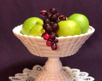 Pink Milk Glass Compote Fruit Bowl
