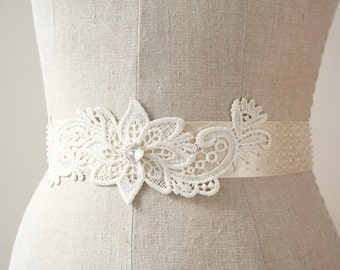 Ivory Lace Sash, Beaded Sash, Wedding Belt