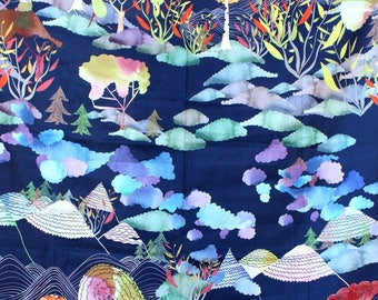 Curtain, ready to install, nursery, child, clouds, trees, mountains, småland, Japanese style