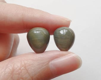 Chrysoberyl Upside down Half Drilled Acorn Drops 10x12 mm One Pair J6834