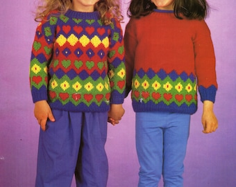 childrens patterned sweaters knitting pattern multicoloured intarsia 22-26 inch DK childrens knitting patterns pdf instant download