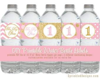 Printable Water Bottle Labels - Drink Wrap Wrapper Girl 1st First Birthday Gold Glitter Ballerina Pink Dots - Big One - INSTANT DOWNLOAD
