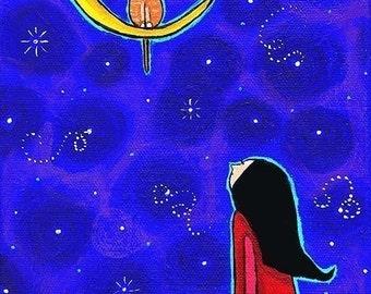 Starry Sky Moon, Cat and Little Girl - Print, Childrens Decor Shelagh Duffett