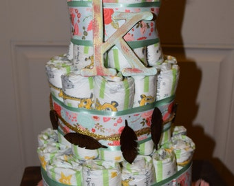 Floral Feather Diaper Cake/Coral Diaper Cake/Baby Diaper Cake/Girl Diaper Cake/Feather Stuff/Baby Shower Stuff/Baby Shower