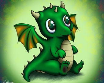 Baby Dragon print  |  Green dragon