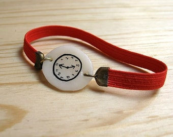 RED Fake watch with elastic watchband bracelet. One-of-a-kind handmade Porcelain toy clock. Valentine's gift