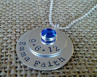 Personalized Mom Necklace - Custom Name Date Necklace - Grandma Necklace - New Mom Necklace - Stamped Evermore