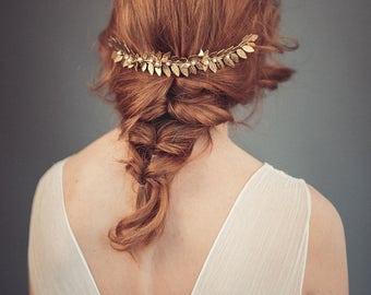 Grecian headpiece - Bridal headpiece - Gold leaf headpiece - Boho headpiece - Gold leaf hair comb - Laurel leaf comb