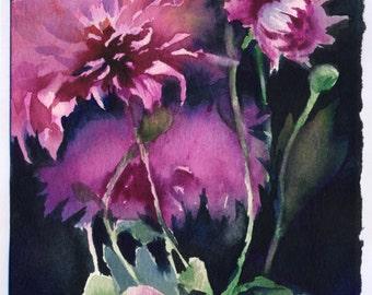 Purple flowers print of watercolor -  purple asters painting on dark background