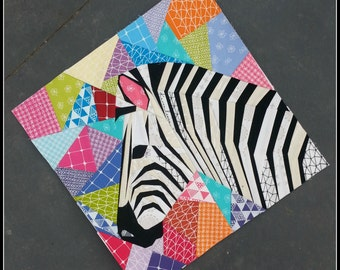 Zebra in Profile- A Foundation Paper Pieced Quilt Pattern- 20 Inch, Paper Piecing, Quilt Block, PDF Quilt Pattern, Zebra Quilt, Animal Quilt