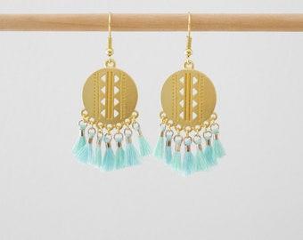 Earrings dangle tassels earrings style ethnic seagreen, blue aquamarine and gold tassel (BO198)