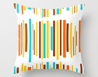 Pillows Patio Outdoor Retro Turquoise Throw Pillow Mid Century Modern Home Living Striped Pillow Decorative Pillows Home Decor
