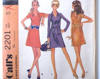 Vintage Sewing Pattern Women's 60's Partially Uncut, McCall's 2201, Dress, Three Versions (S)