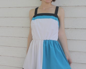 White Colorblock Summer Dress Sleeveless Retro Casual Striped 80s 13