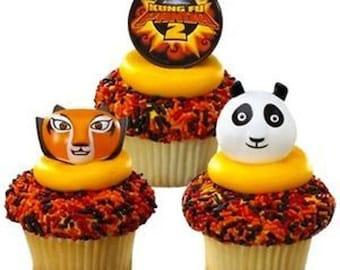 24 Kung Fu Panda2 Cupcake Rings Cake Decor Toppers