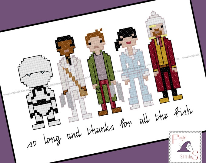 Hitchhiker's Guide to the Galaxy themed Cross Stitch - PDF Pattern - INSTANT DOWNLOAD