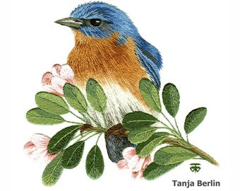 Hand Embroidery Kit - Eastern Blue Bird on Blossom Branch Needle Painting Embroidery - Embroidery Art Picture