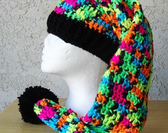 Handmade Crochet Long Stocking Hat Rainbow Neon Funky