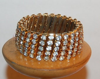 Vintage Rhinestone Gold Stretch Bracelet Glamour Gal Gorgeous