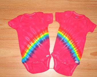 Twins Tie dye onesie, all sizes, Pink Rainbow tie dye twins, tie dye baby onesie
