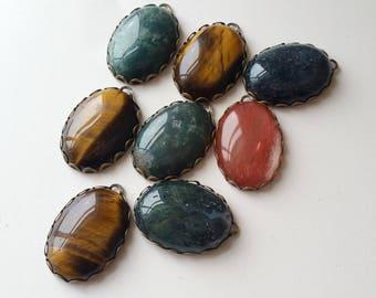 Oval stone cabs pendants