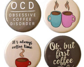 Coffee Lovers Fridge Magnets Set 4pc 55mm Caffeine But First Coffee!