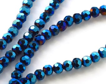 Crystal 4mm Blue AB Ball Faceted One Strand