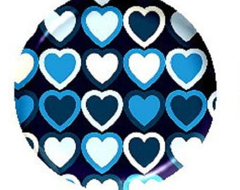 25mm cabochon blue heart