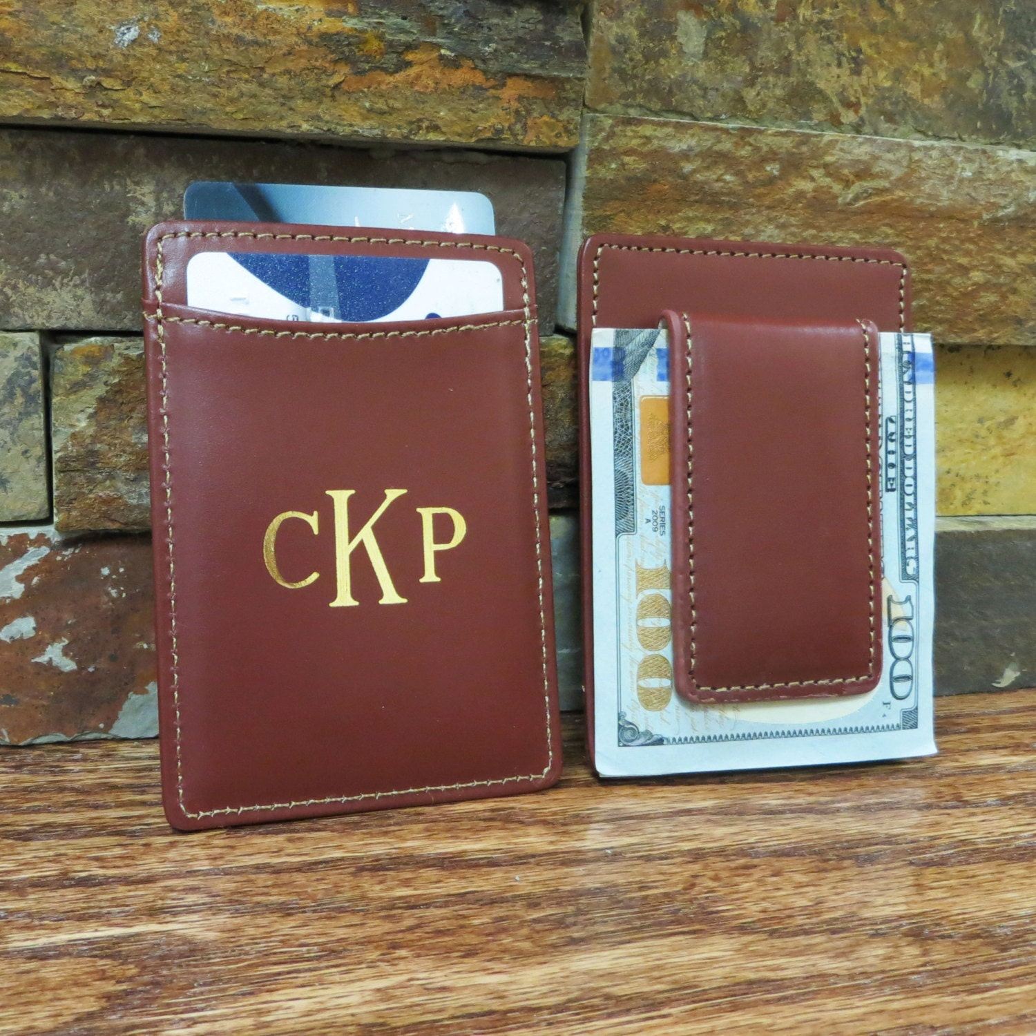 Monogrammed Leather Wallet w/ Money Clip Monogram Wallet