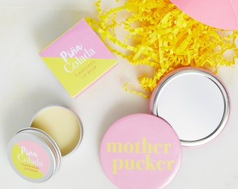 Pina Colada Lip Balm And Mirror Gift Set - Pina Colada gift - Lip Balm Gift Set - pocket mirror gift set - Hen party gift - Hen party