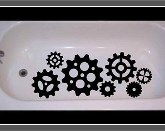 Non Skid Non Slip Steampunk decal for Bathtub, Shower Gears Cogs