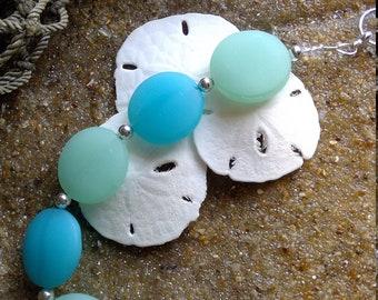 Sz 8.25 Sea Glass Bracelet silver beach glass blue and green bracelet glass  sea glass bracelet size 8.25 inches E1703
