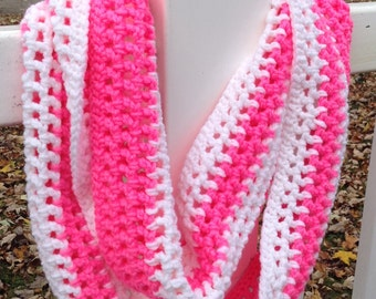 Crochet Lace infinity Scarf, Pink and white Scarf, Cowl