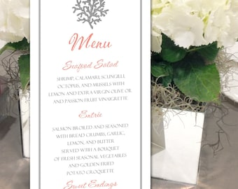 "Coral Menu, Nautical Menu, Beach Menu, for your Seaside Wedding, Party or Special Event - finished size 4.25"" x 9"""