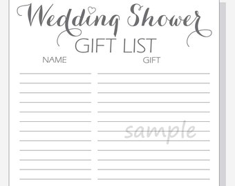 DIY Wedding Shower Gift List Printable - Calligraphy Script with red, purple, pink or clear heart