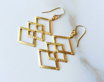 Geometric Diamond Shaped Earrings