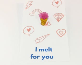 Valentine's Day Gift For Girlfriend Mini Valentine Card Ice Cream Cone Pin Food Brooch Punny Gift Be Mine Funny Love Card I Melt For You