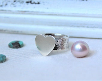 Heart - Oxidized Sterling silver Ring - SIZE 8 - READY to SHIP